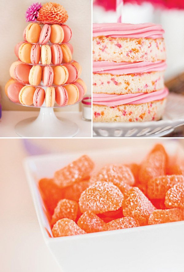 pink and orange confetti smash cake and macaron tower