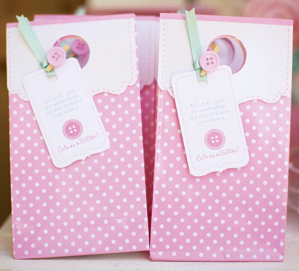 polka dot button party favor bags
