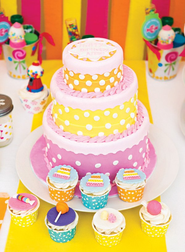pink, orange and yellow polka dot birthday cake