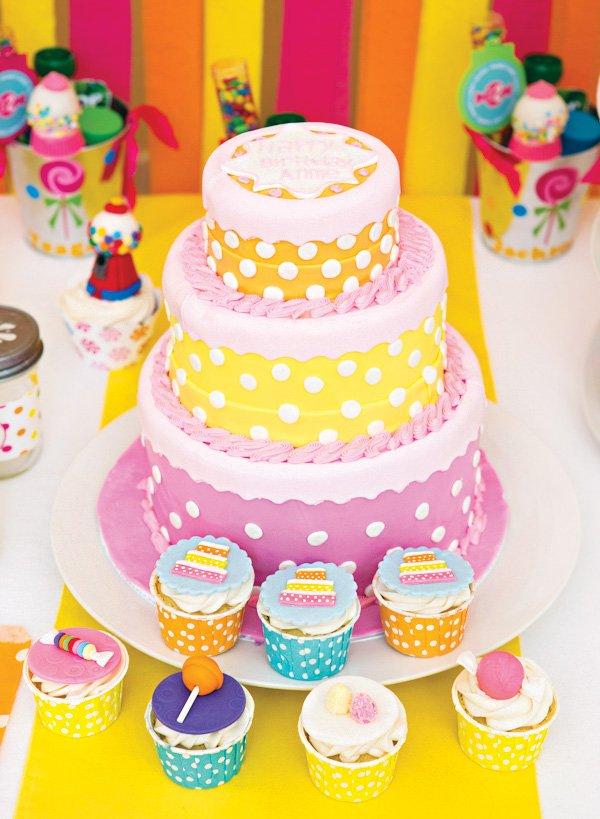 pink, orange and yellow polka dot birthday cake