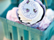 purple bunny rabbit and lace cupcake