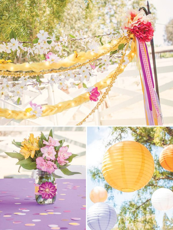 rapunzel braid and flower streamers