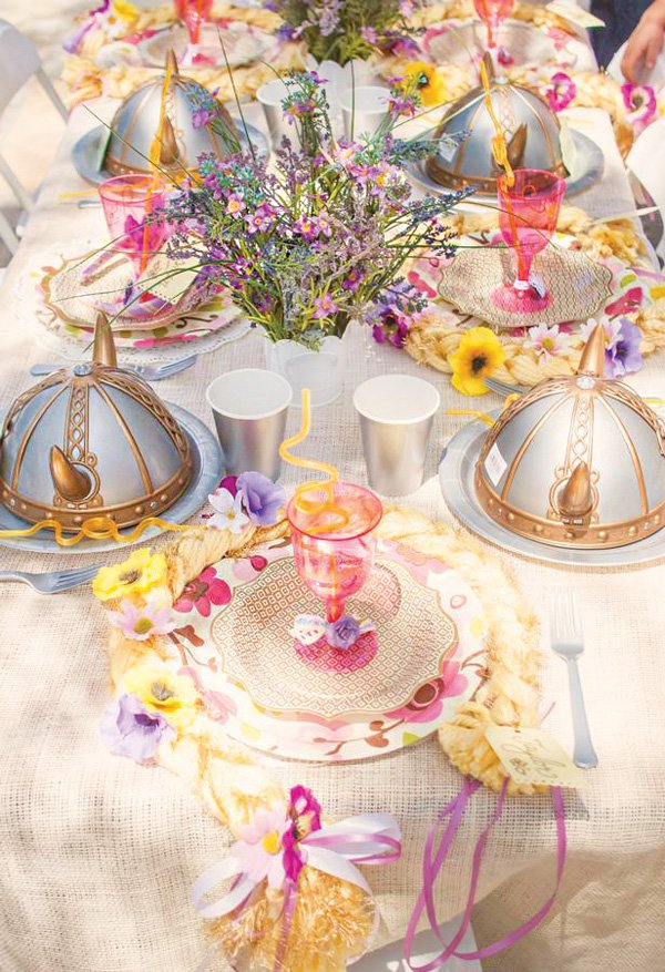 rapunzel princess tablescape