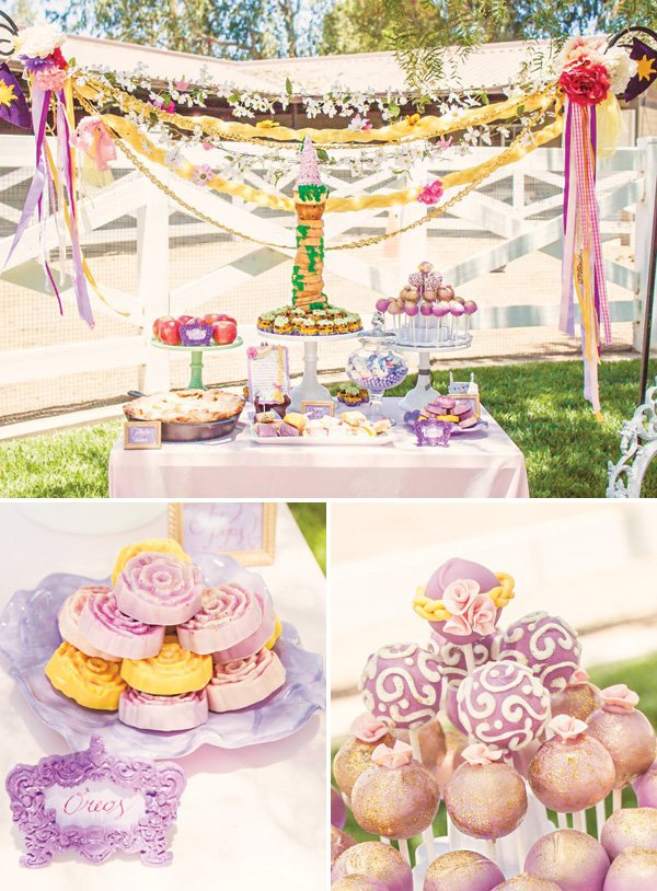tangled inspired rapunzel birthday party dessert table