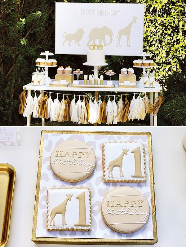 golden safari first birthday party ideas