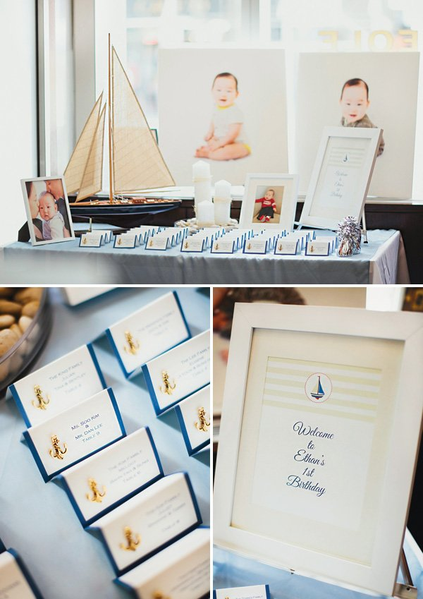 sailing themed place cards table
