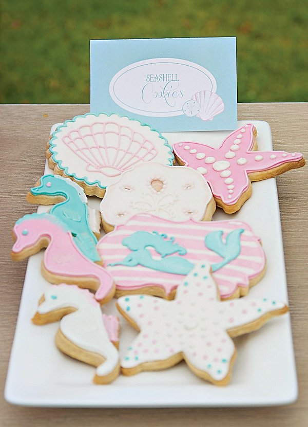 seashell, clams, seahorses & starfish cookies