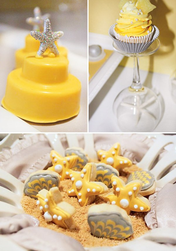 seashell and starfish party desserts