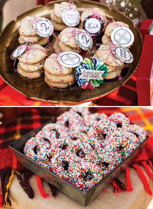simple party desserts like chocolate chips cookies and sprinkle covered chocolate pretzels