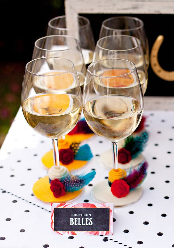 Southern Belle Wine Glasses with DIY Felt Hats - Kentucky Derby Party Idea