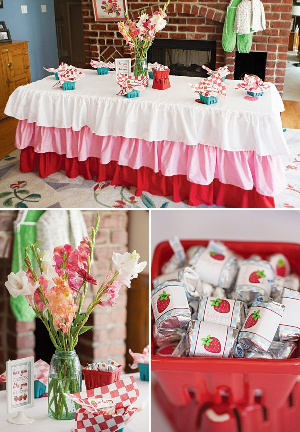 strawberry baby shower tablescape