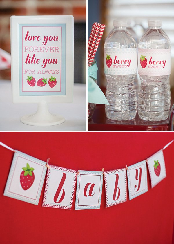 strawberry party printables like a banner, cupcake toper and sign