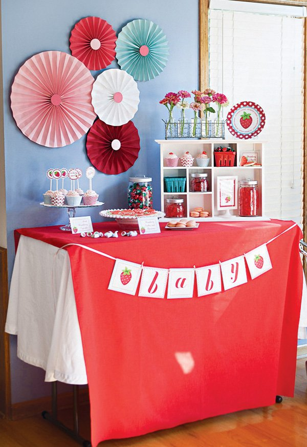 strawberry themed dessert table