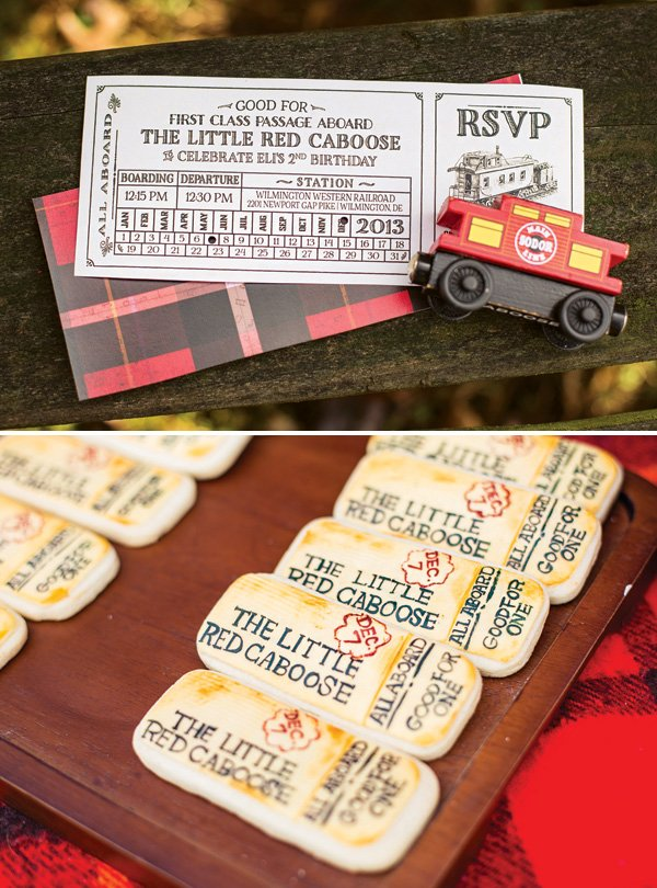 train ticket party invitation and cookies