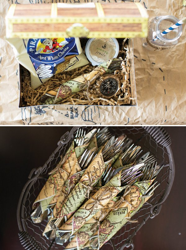 treasure map napkins and treasure chest lunch boxes