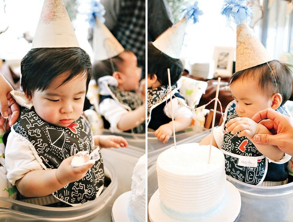 twins first birthday smash cakes and party hats