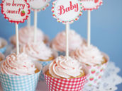 vintage strawberry cupcake party circle toppers