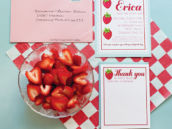 vintage strawberry baby shower party invitation