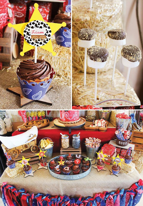 western sheriff themed desserts table and s'mores pops