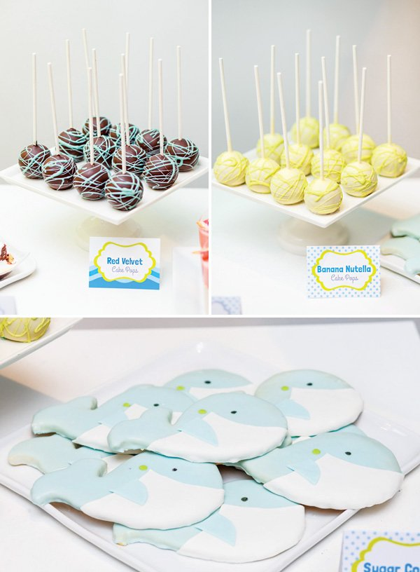 whale themed cookies and cake pop desserts