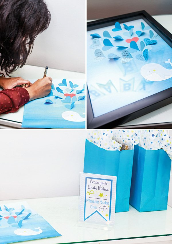 whale wishes framed guestbook sign