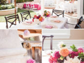white outdoor tablescapes with pops of color