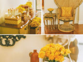 yellow baby shower decor