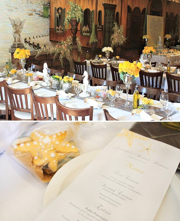 yellow beachy tablescape for a bridal shower