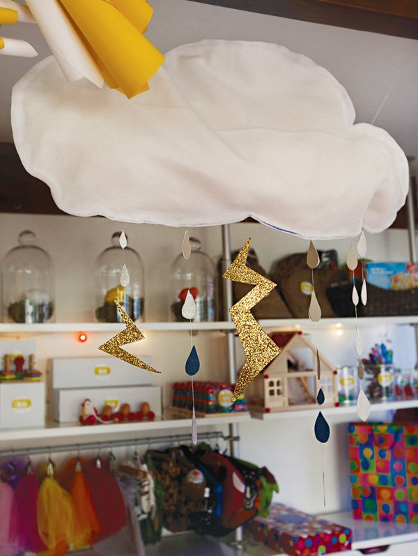 DIY felt rain clouds with lightning bolts