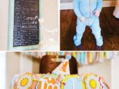 DIY first birthday chalkboard sign and highchair decor