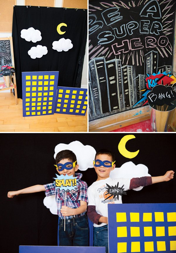 DIY super hero skyline photo booth