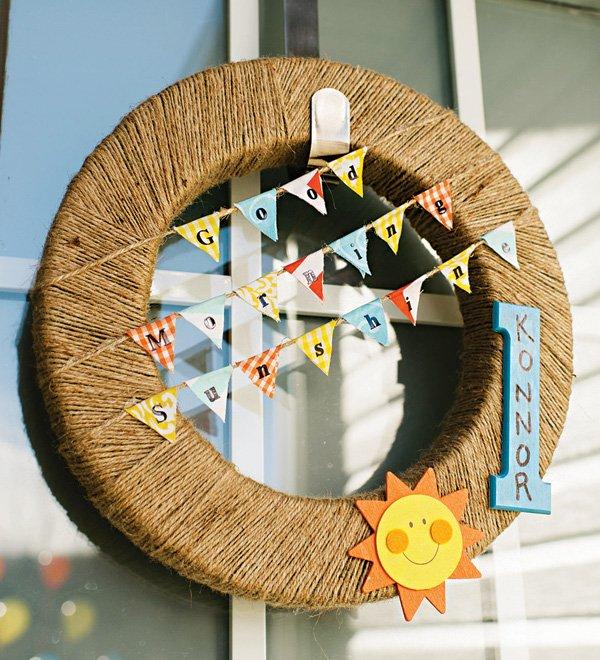 DIW twine, mini bunting and sun wreath