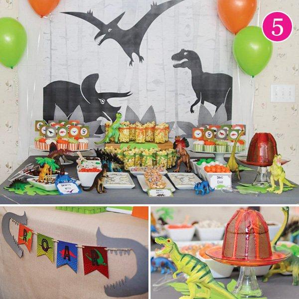 dino-mite dinosaur birthday party dessert table