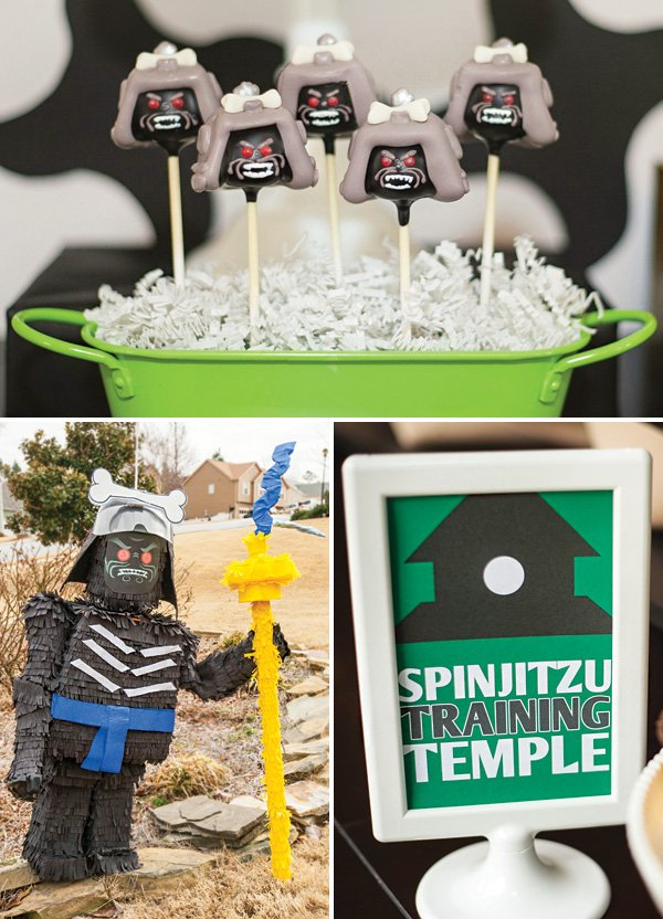 Lord Garmadon ninjago cake pops and piñata