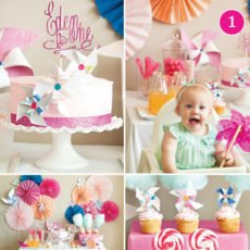 pinks, peaches & pinwheels first birthday party