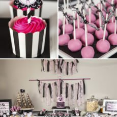 pink and black pirate party dessert table