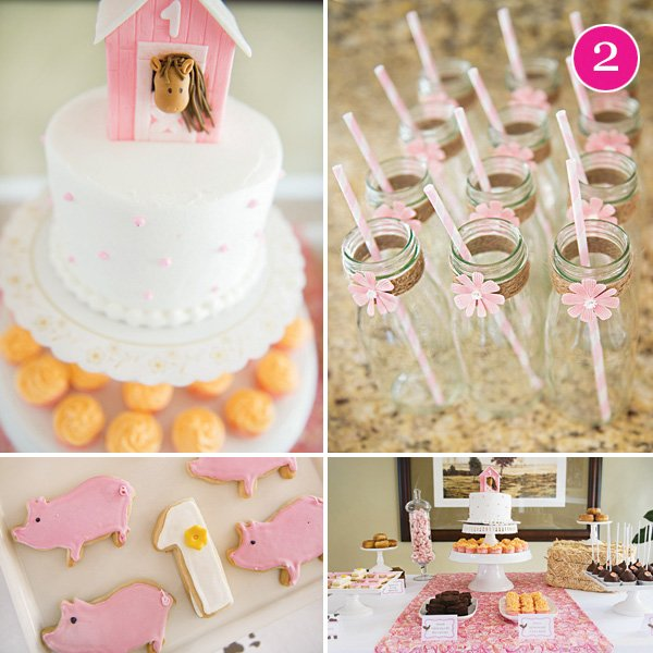 sweet pink girly farm first birthday party