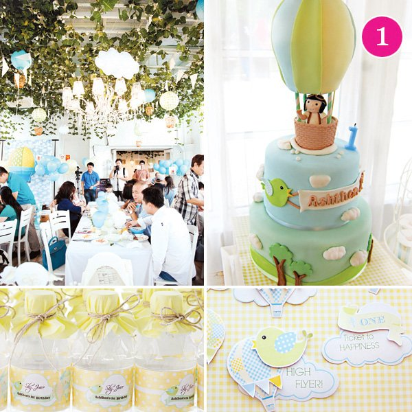 the sky is the limit hot air balloon themed first birthday party