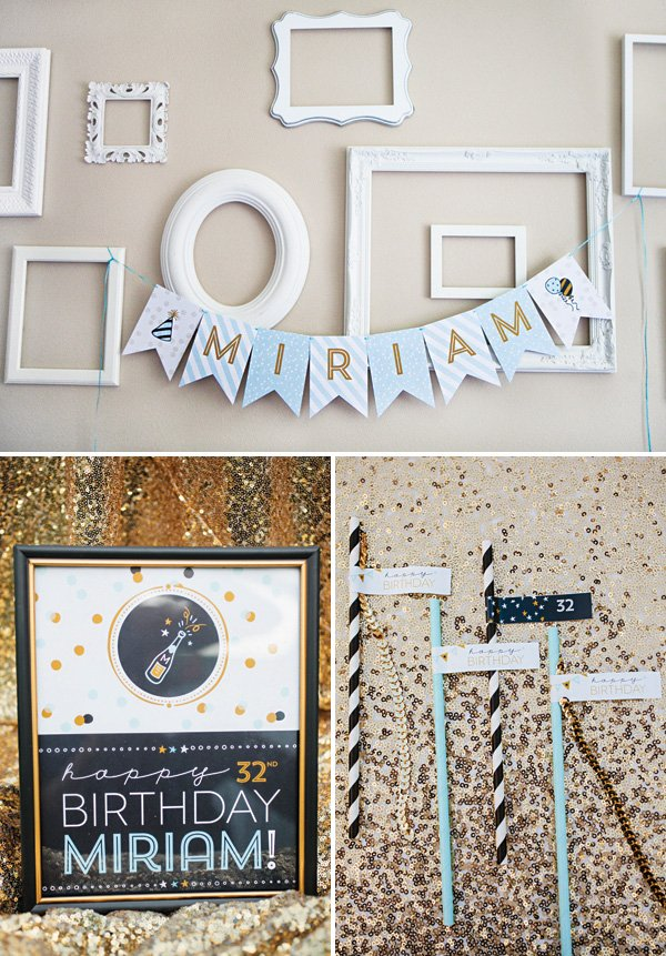 blue and gold adult birthday party printables