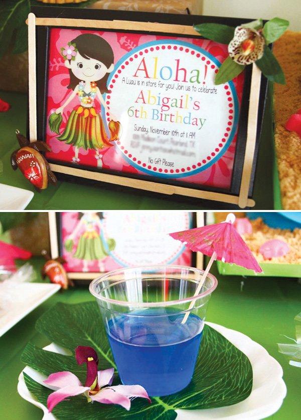aloha hawaiian birthday party invitation