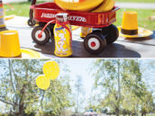 banana bunch and red wagon table centerpieces