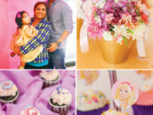 barbie doll birthday party decor and family photo