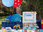 beach pool party dessert table