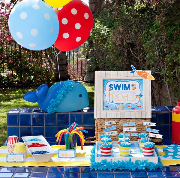 beach pool party dessert table