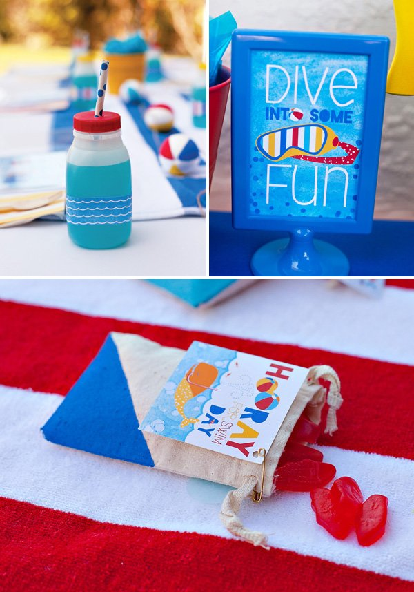 beach party favors and drinks