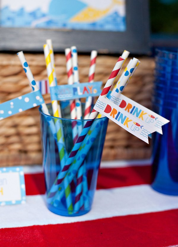 beachy pool party straws and party flags