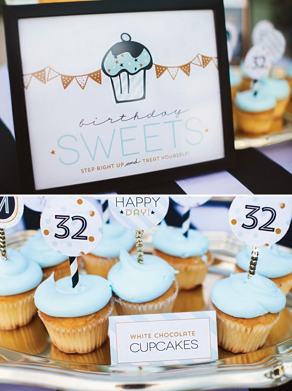 birthday sweets party sign and cupcakes