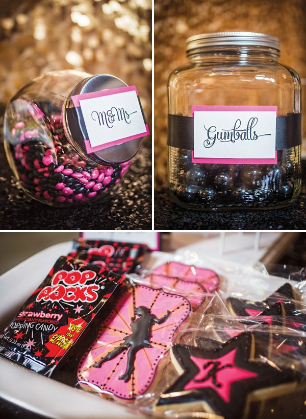 black and pink candy and cookie buffet