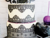 black lace party cake