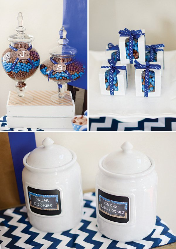 blue and brown birthday party decor